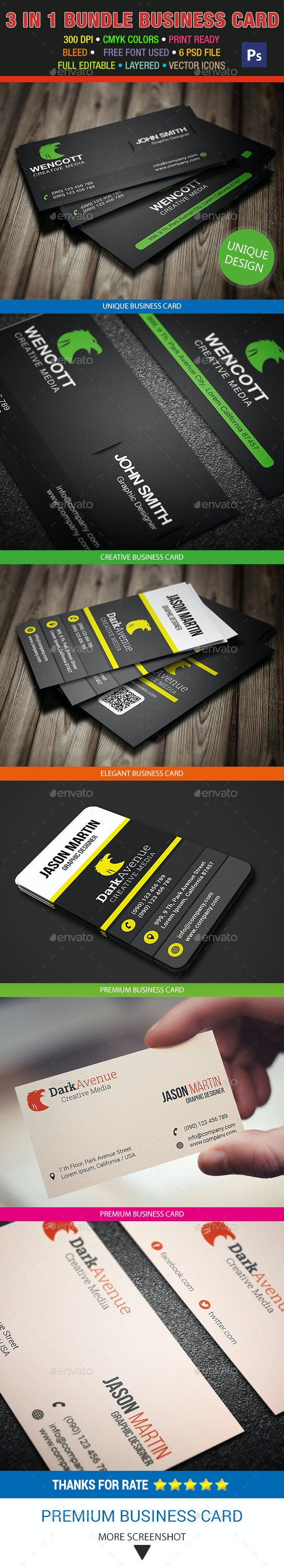 3 in 1 Creative Business Card Bundle 21 - Creative Business Cards