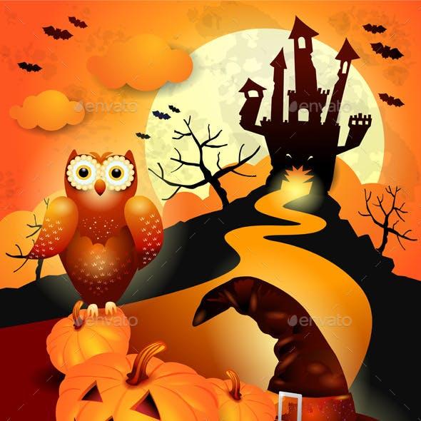 Halloween Background with Owl in Orange