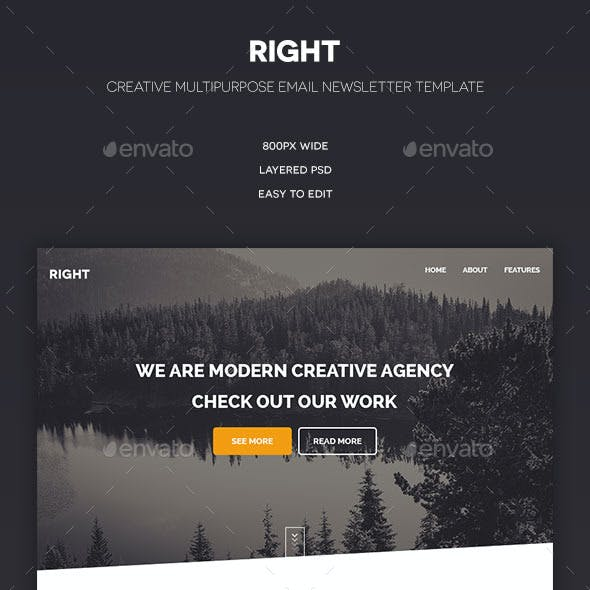Right - Multipurpose PSD Email Template
