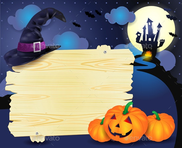 Halloween Background with Sign in Blue - Halloween Seasons/Holidays
