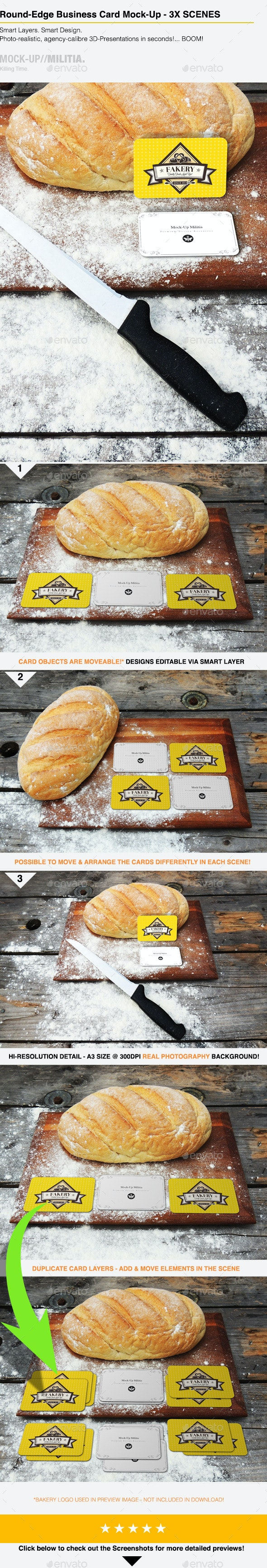 Bakery Business Card Mock-Up | Round Corner - Business Cards Print