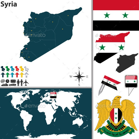 Map of Syria - Travel Conceptual