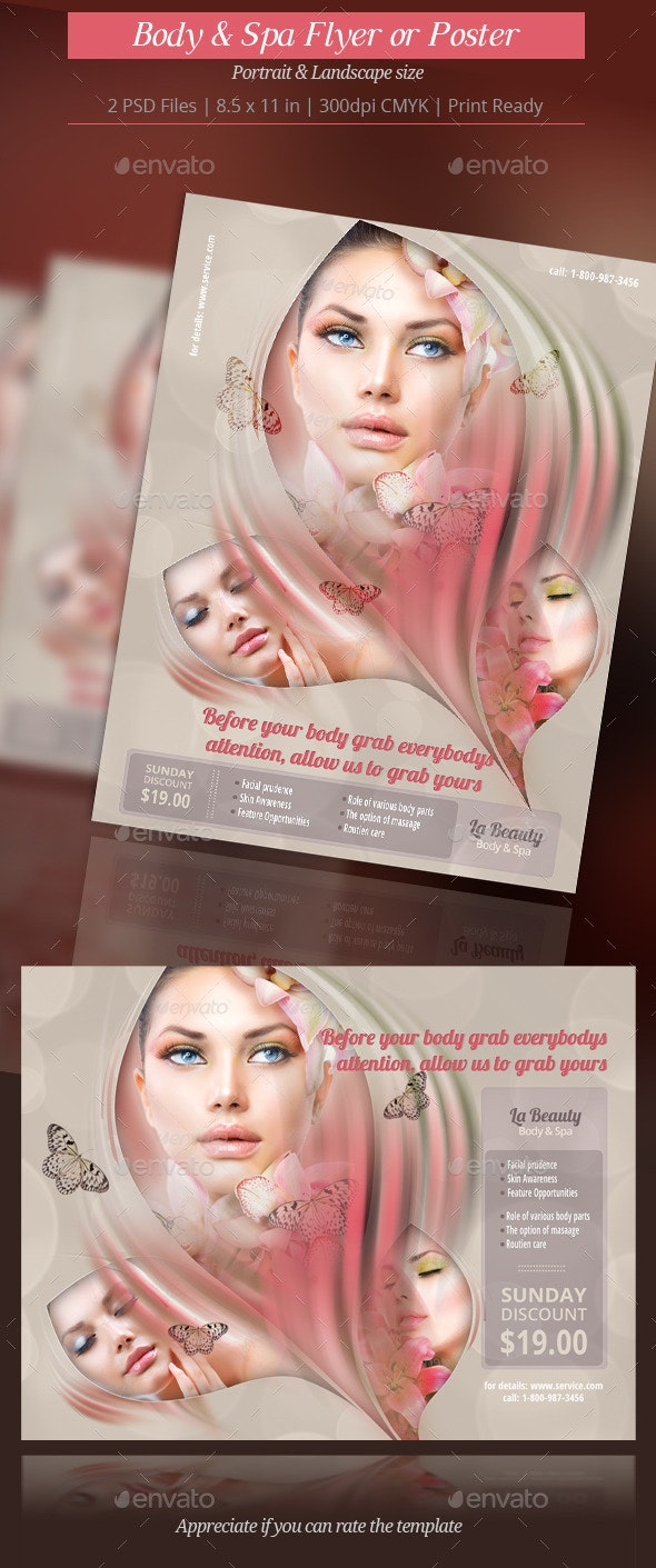 Body and Spa Flyer or Poster - Commerce Flyers
