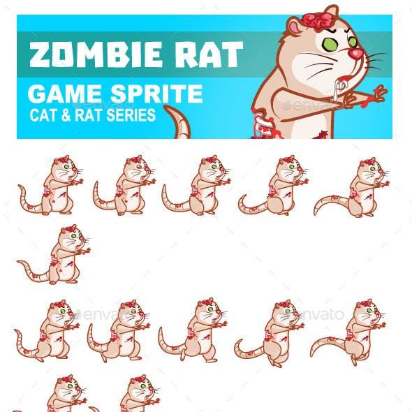 Zombie Rat Game Sprite