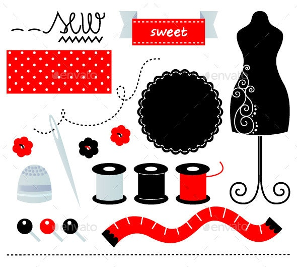 Sewing Set Design Elements Isolated on White - Man-made Objects Objects