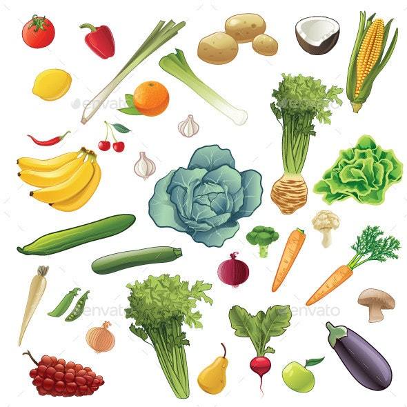 Fruits and Vegetables Set - Food Objects