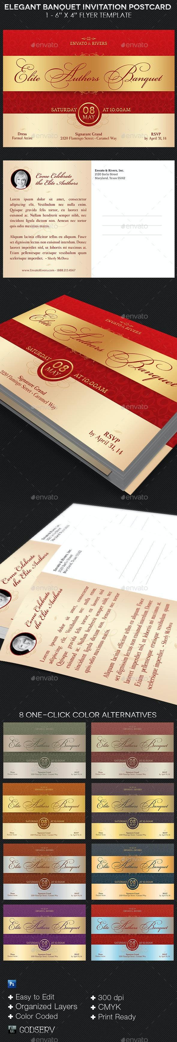 Elegant Banquet Invitation Postcard Template - Invitations Cards & Invites
