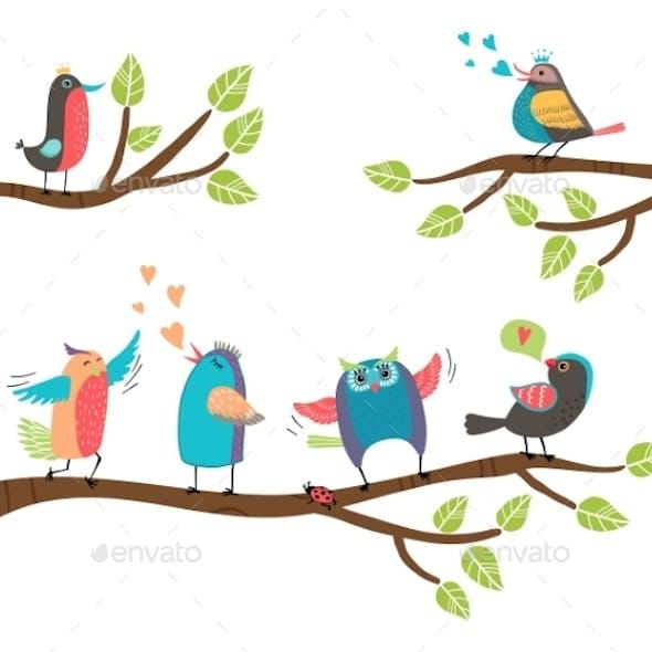 Cartoon Birds on Branches