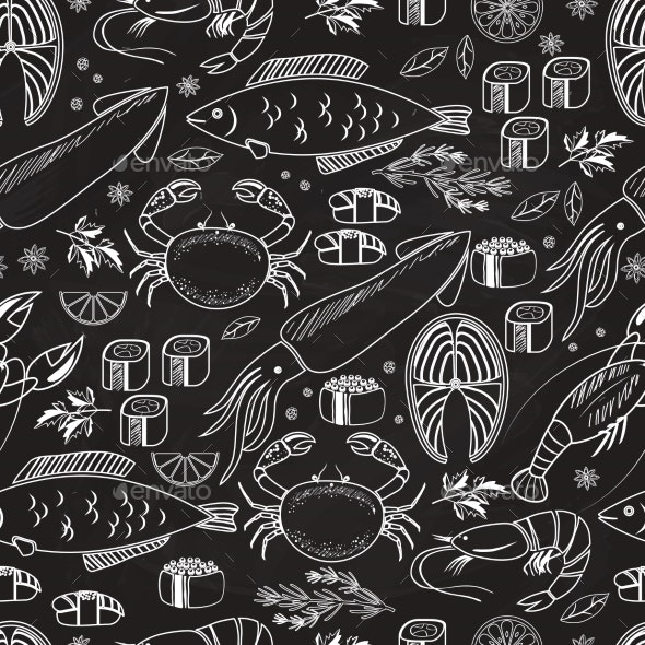 Seafood and Fish Chalkboard Seamless Background - Backgrounds Decorative