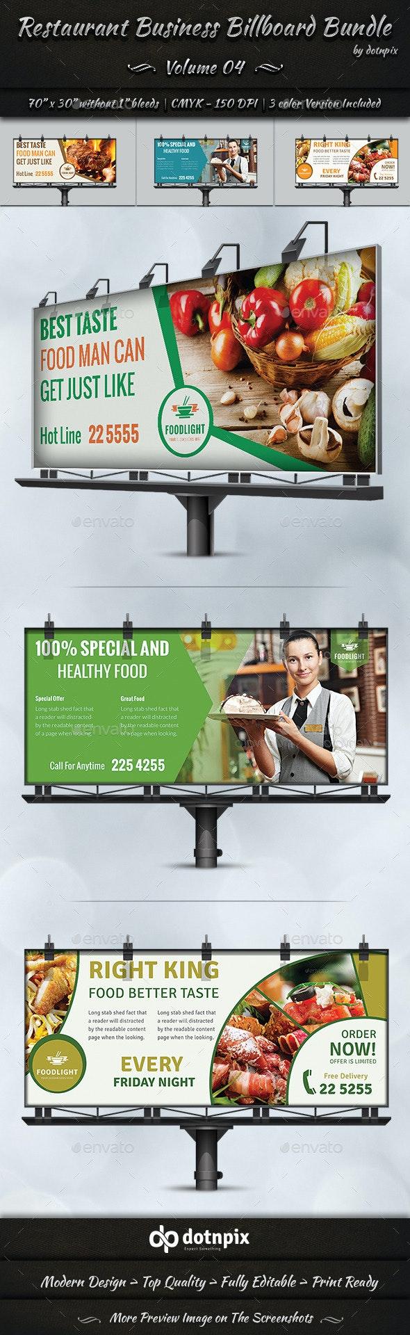 Restaurant Business Billboard Bundle | Volume 4 - Signage Print Templates