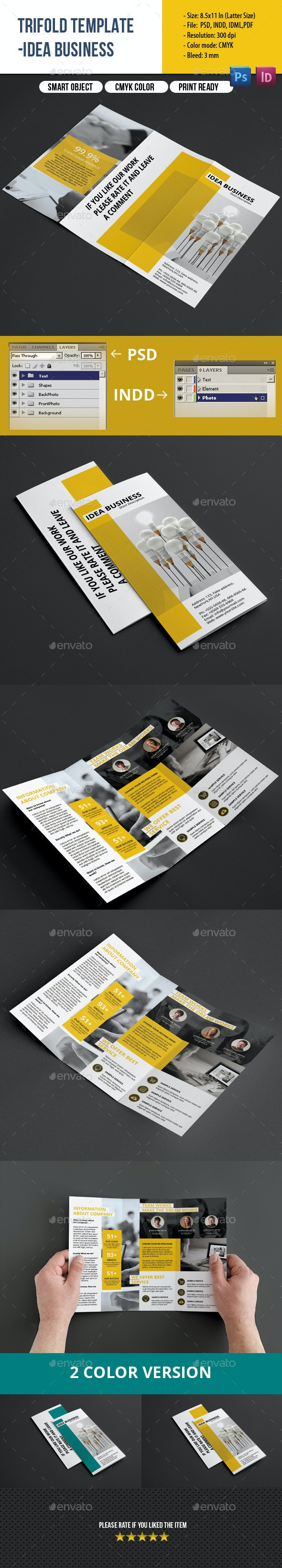 Clean Trifold Business Brochure - Corporate Brochures