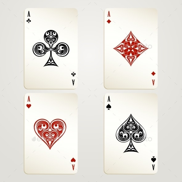 Four Aces Playing Cards - Sports/Activity Conceptual