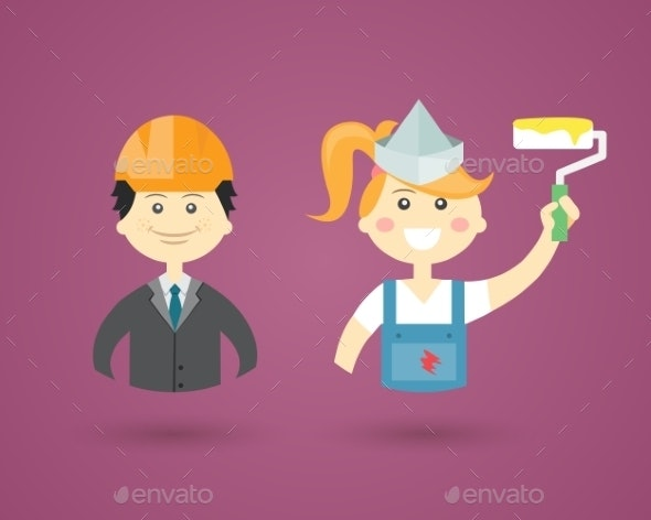 Professions - Engineer and Interior Decorator - People Characters