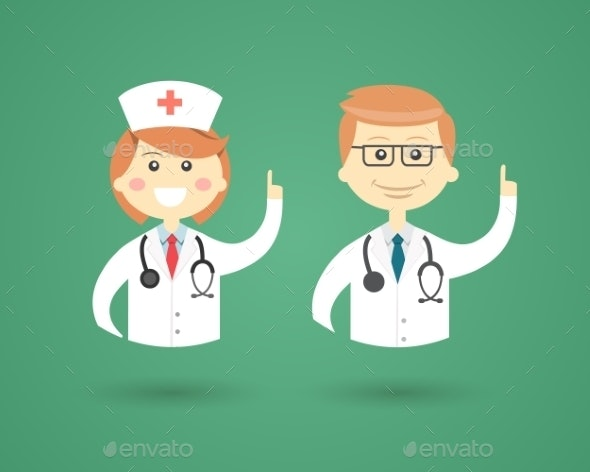 Professions - Doctor and Nurse - People Characters