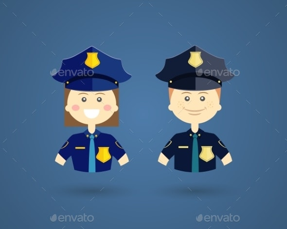 Professions - Police Officers - People Characters