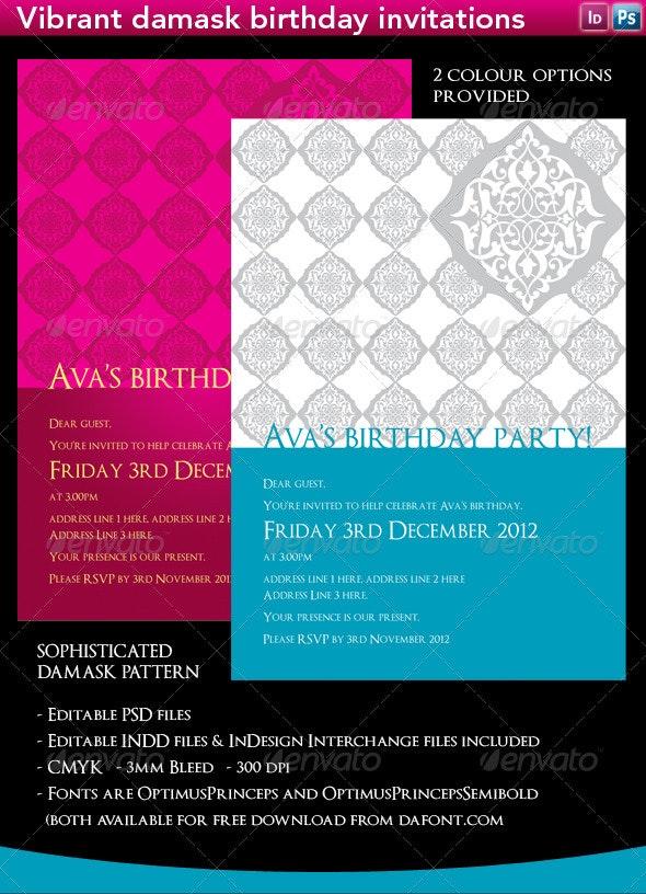 Pink & Aqua Damask Birthday Invitations - Birthday Greeting Cards