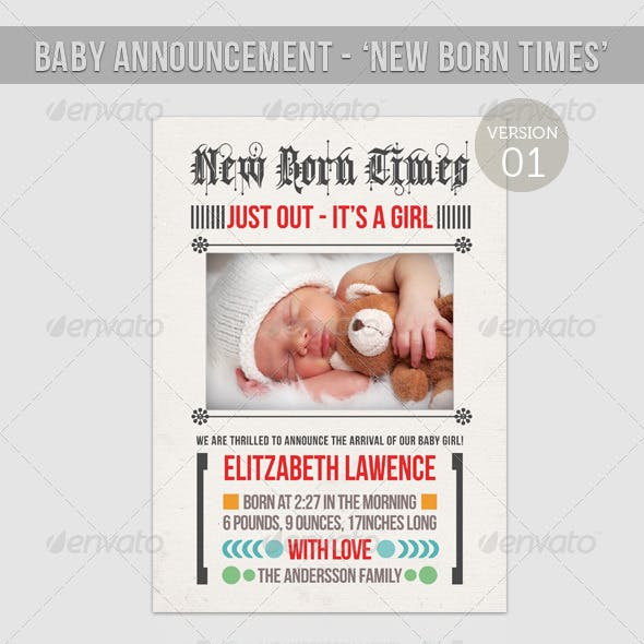 Boy/Girl Baby Announcement  - New Born Times