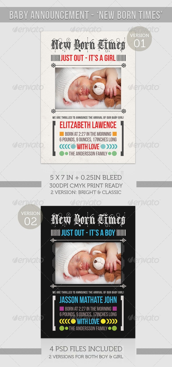 Boy/Girl Baby Announcement  - New Born Times - Family Cards & Invites