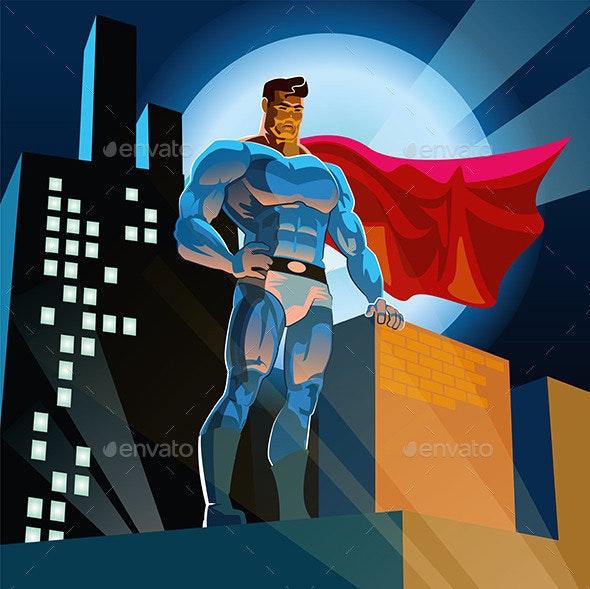 Superhero in City - People Characters