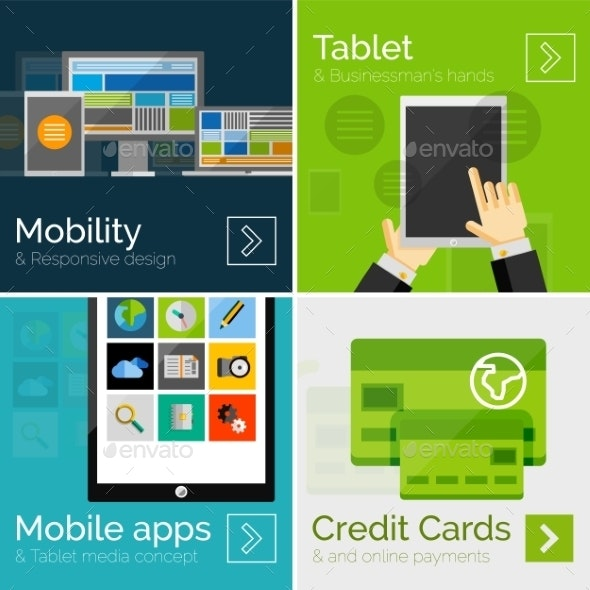 Flat Mobile Banners - Web Technology
