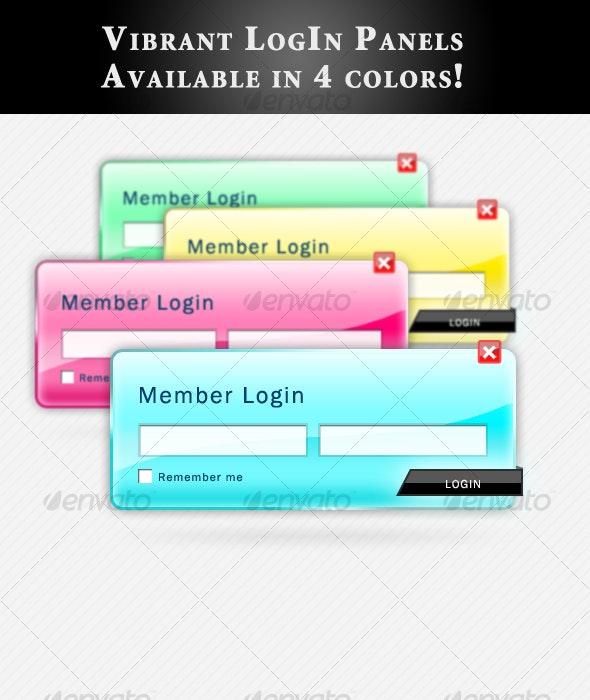 Vibrant Login Panel - Forms Web Elements