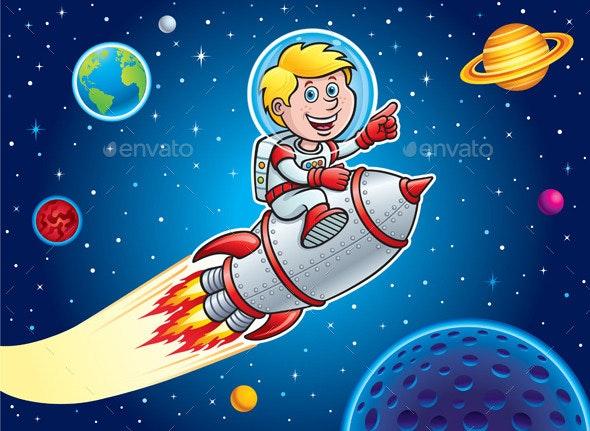 Kid Blasting Through Space On A Rocket - Retro Technology