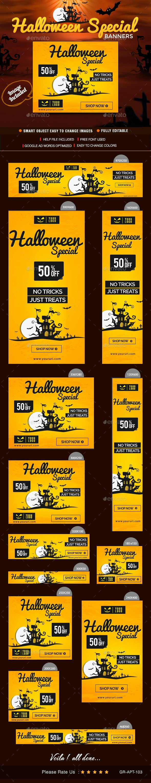 Halloween Sale Web Banner Design - Banners & Ads Web Elements