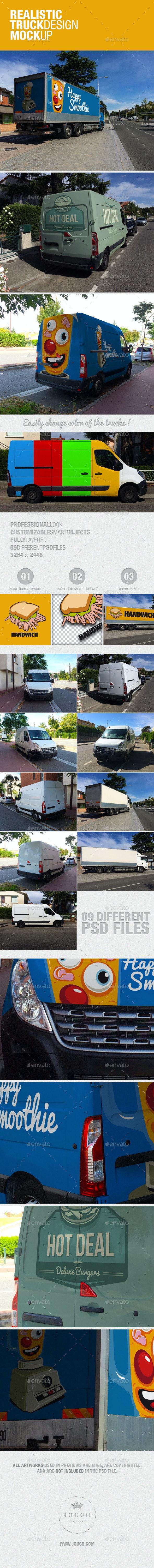 Realistic Truck Design Mockups - Vehicle Wraps Print