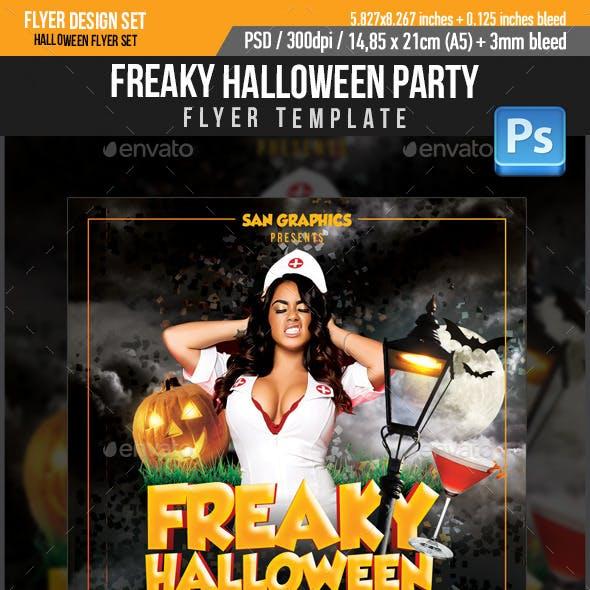 Freaky Halloween Party Flyer Template