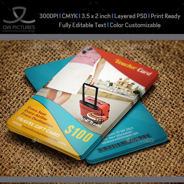 Travel Gift Voucher Card Template Vol.13