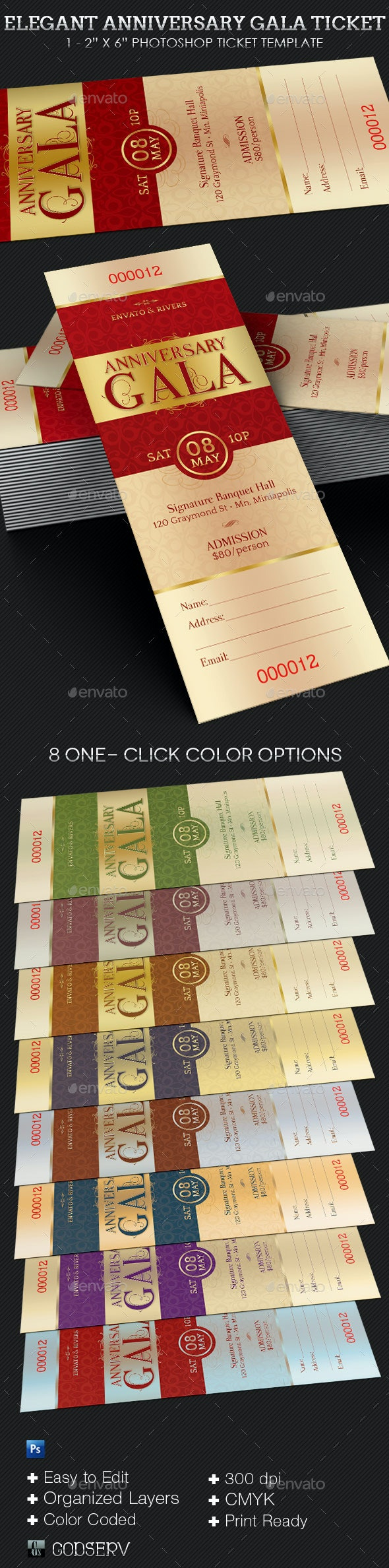 Elegant Anniversary Gala Ticket Template - Miscellaneous Print Templates