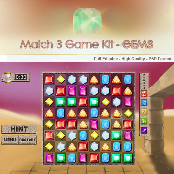 Match 3 Game Kit - Gems