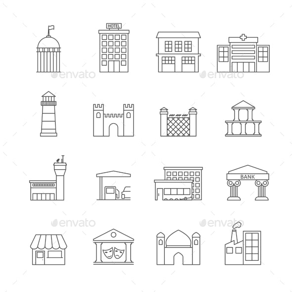 Government Buildings Icons - Buildings Objects