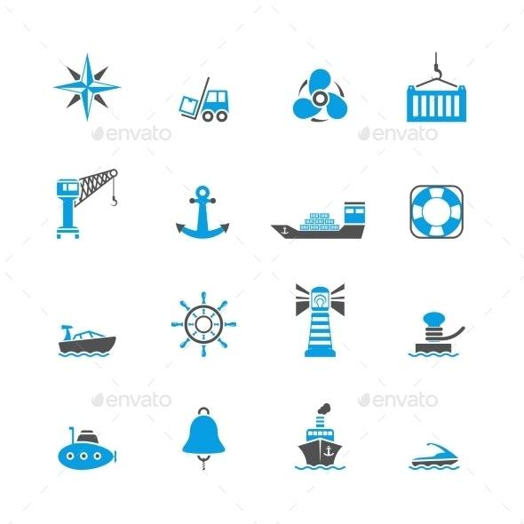 Sea Port Icons Set - Web Technology