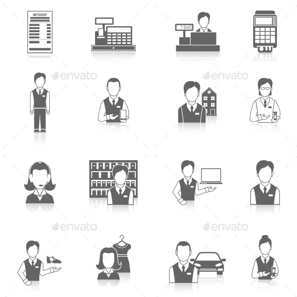 Set Icons Salesman Black - Web Technology