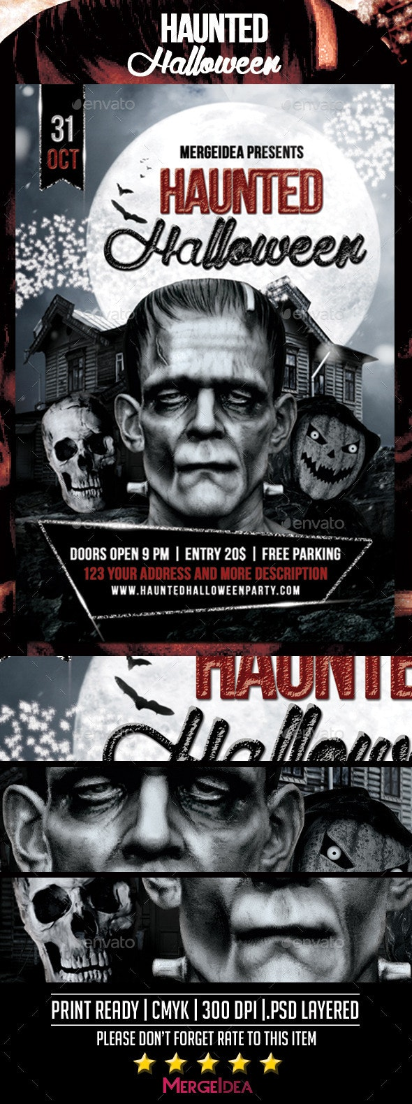 Haunted Halloween Party Flyer - Clubs & Parties Events