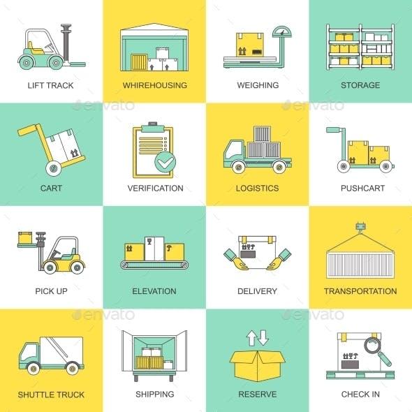 Warehouse Icons Flat Line