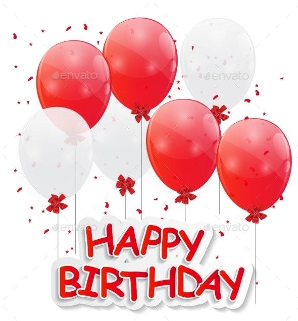 Glossy Balloons Background Vector Illustration - Birthdays Seasons/Holidays