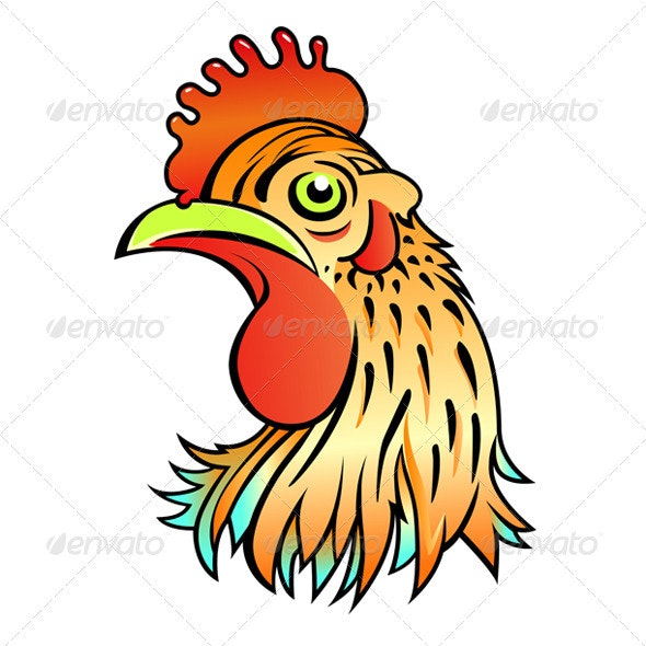 Cartoon Rooster Head - Animals Characters