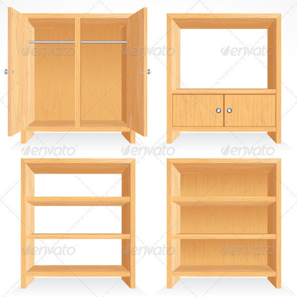 Wooden Furniture - Characters Vectors