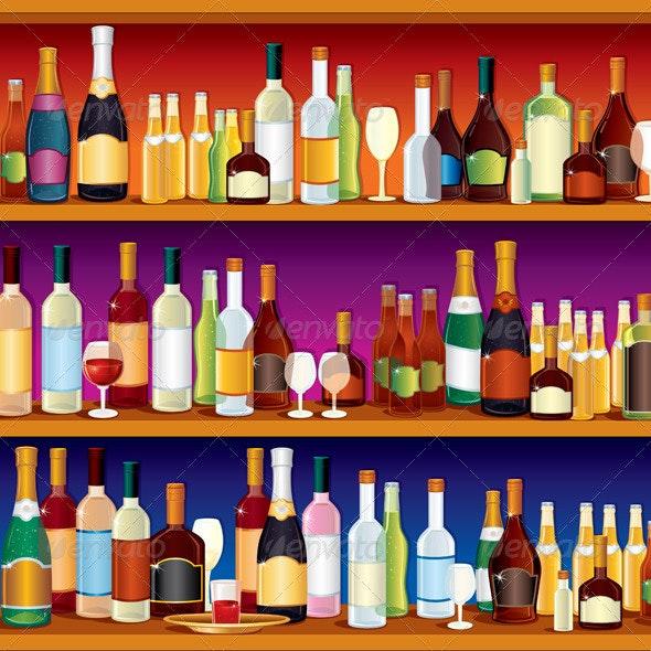 Seamless Bar Shelves - Characters Vectors