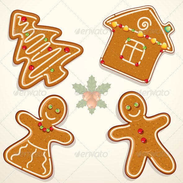 Christmas Gingerbread Cookies - Characters Vectors