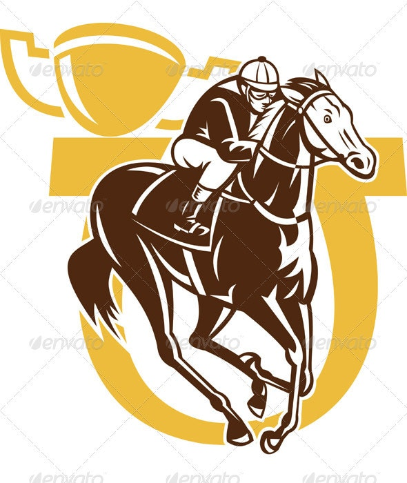 Jockey Riding Horse Racing With Champion Trophy - Sports/Activity Conceptual