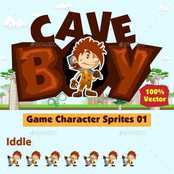 Cave Boy Character Sprites Sheet For 2D Prehistori