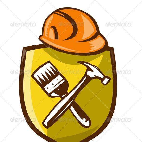 Construction Hardhat With Hammer Paintbrush Shield