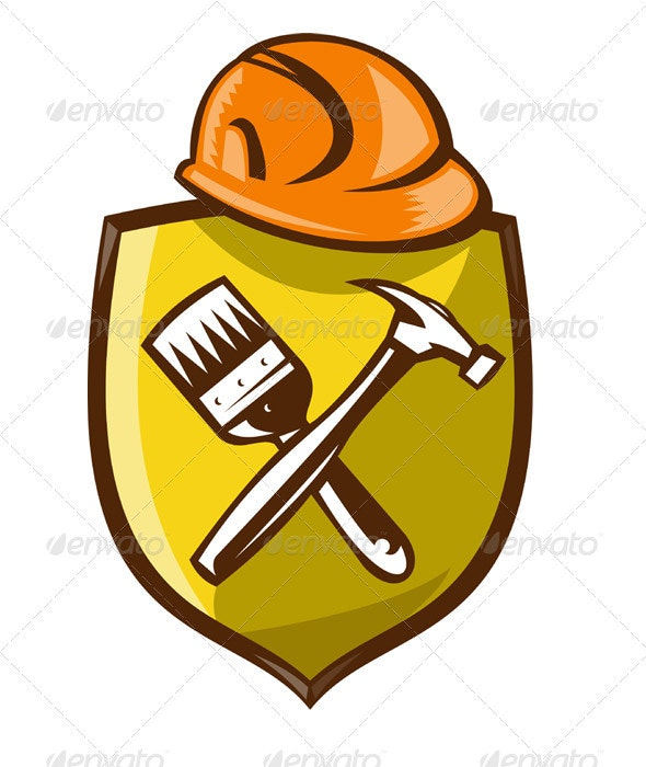Construction Hardhat With Hammer Paintbrush Shield - Man-made Objects Objects