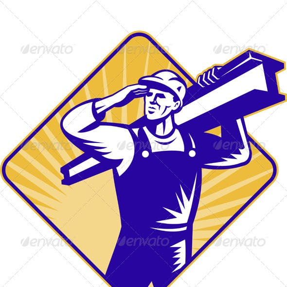 Construction Worker Saluting Carrying I-Beam