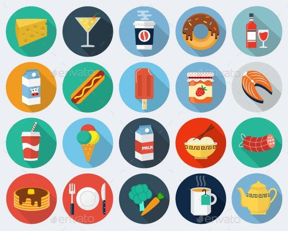 Food Flat Icons, Set 2 - Objects Illustrations