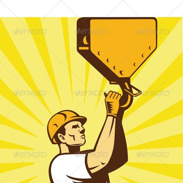 Construction Worker Wearing Hard Hat Holding Hook