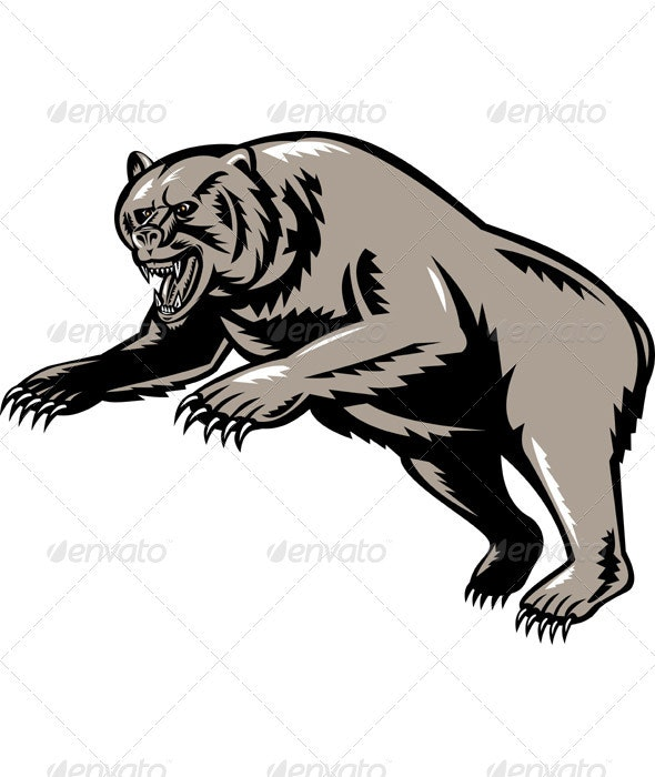 Grizzly Bear Attacking Woodcut Style - Animals Characters